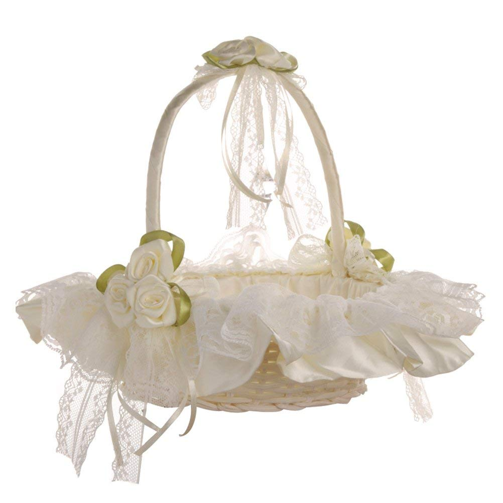Cheap fruit basket decoration wedding find fruit basket decoration get quotations bestoyard wedding flower girl basket lace bride basket for wedding ceremony party decoration milk white izmirmasajfo