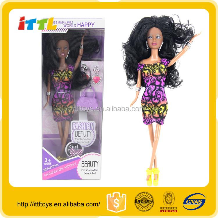 Good selling new arrival 11.5 inch fashion doll black fashion girl doll plastic black fashion dolls