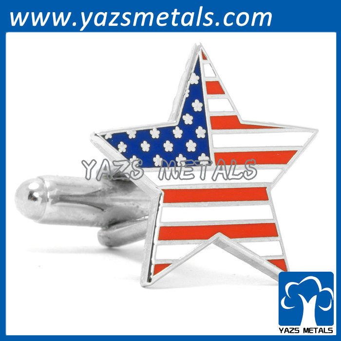 coated flag star cufflink made of brass