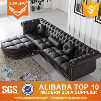 FOSHAN Black Vintage Industrial Sectional Sofa Furniture
