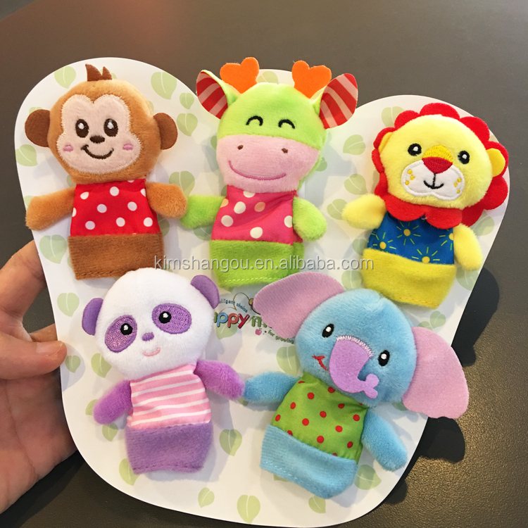 High Quality Cute Plush Toys Finger Puppet for Children Cartoon Animal Design