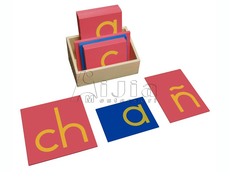 Spanish Print Sandpaper Letters,Montessori Teaching Toys ,Montessori materials in china