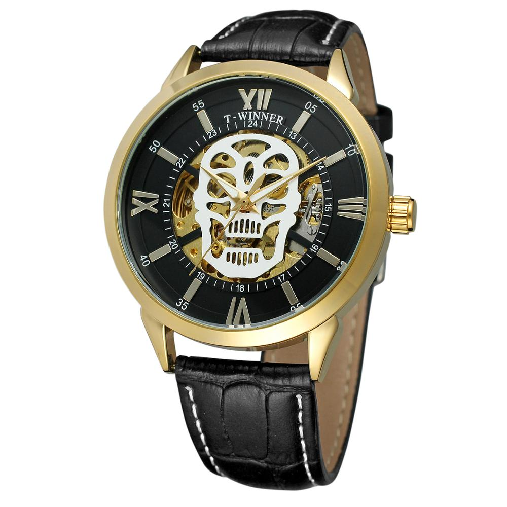 New Arrival With Packing Box Watch Genuine Leather Strap Halloween Decorations Skeleton Automatic Mechanical Brand Mens Watch