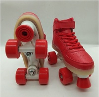 Wholesale PVC wheel and 4 wheels kids quad roller skating shoes with LED flashing land roller skates for sale