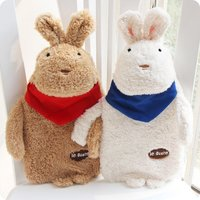 EN71 best Christmas gift China low price cute rabbit brothers fuzzy bunny plush toy animal with mini hot water bag inside