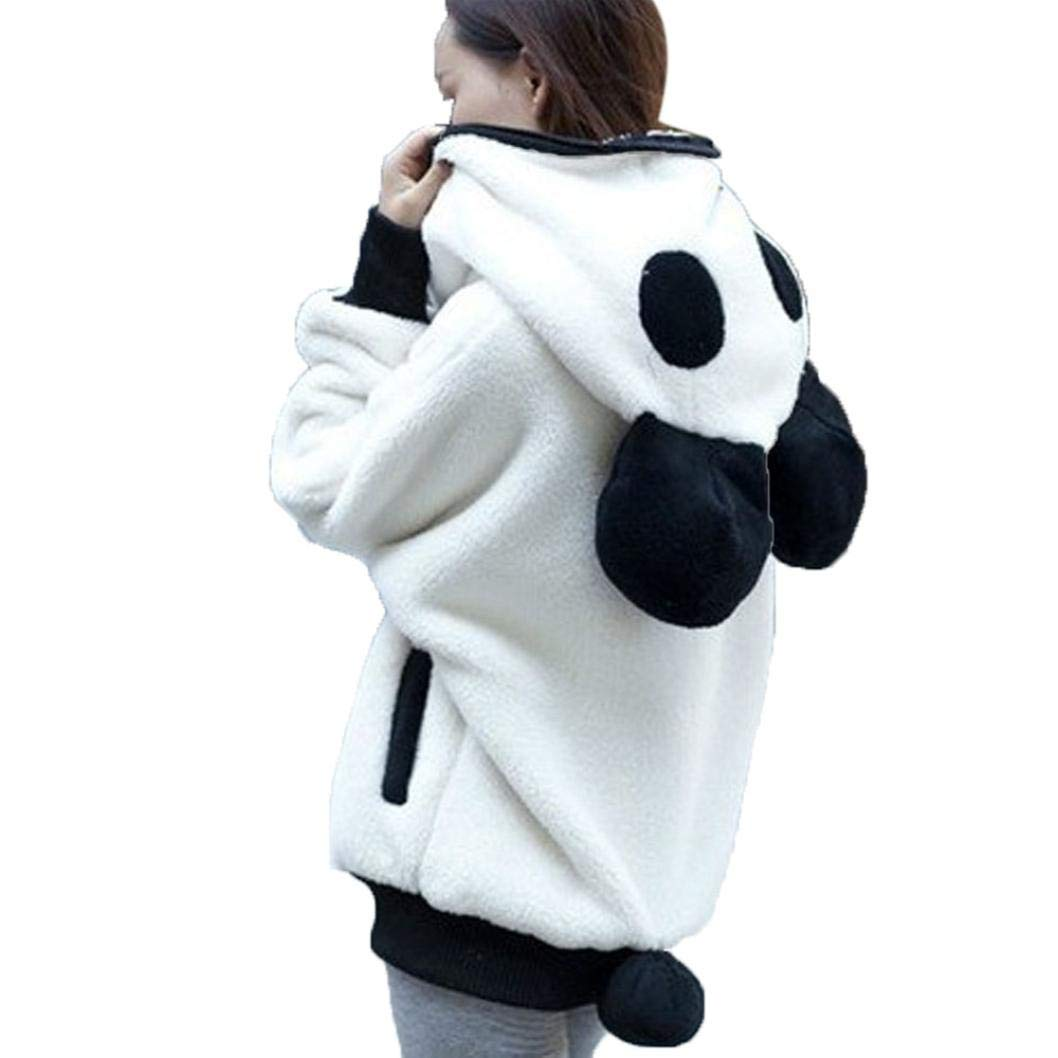 Women Cute Panda Ear Zipper Hoodie Sweatshirt Winter Warm Coat Fashion Jacket Outerwear