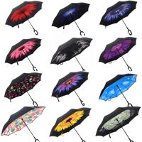 Ready stock windproof double layer Logo printed promotional custom reverse inverted umbrella