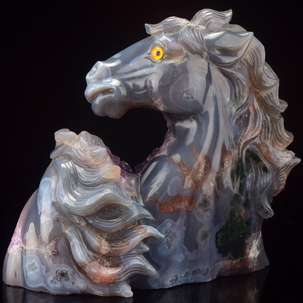 Amethyst geode horse, hand carved 4 inch stone carving horse craft gifts