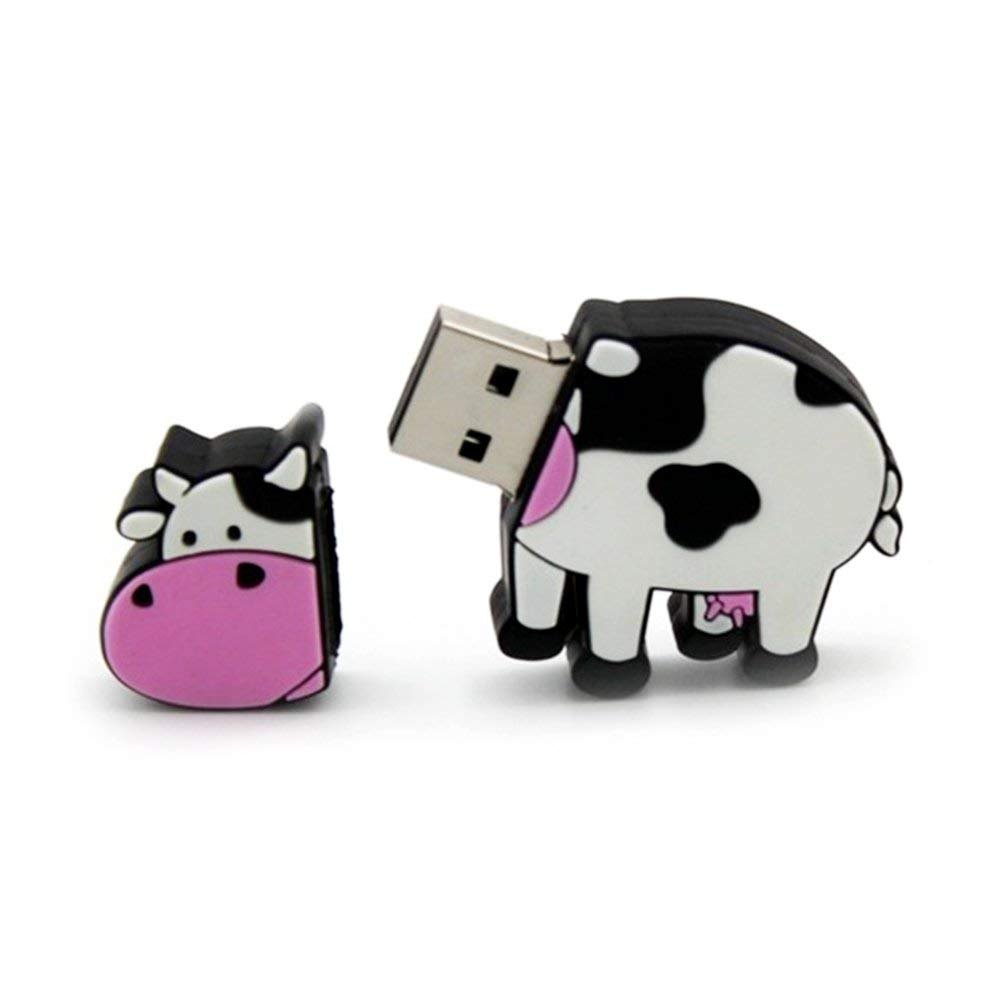cyclamen9 8GB 16GB 32GB 64GB Cute Cow USB 2.0 Flash Drive, Flash Memory Stick Pen Drive Thumb U Disk BU(32GB)