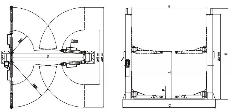 Elevador hidráulico barato superior do carro do cargo da grua 2 da garagem do CE hidráulico dobro superior do cilindro