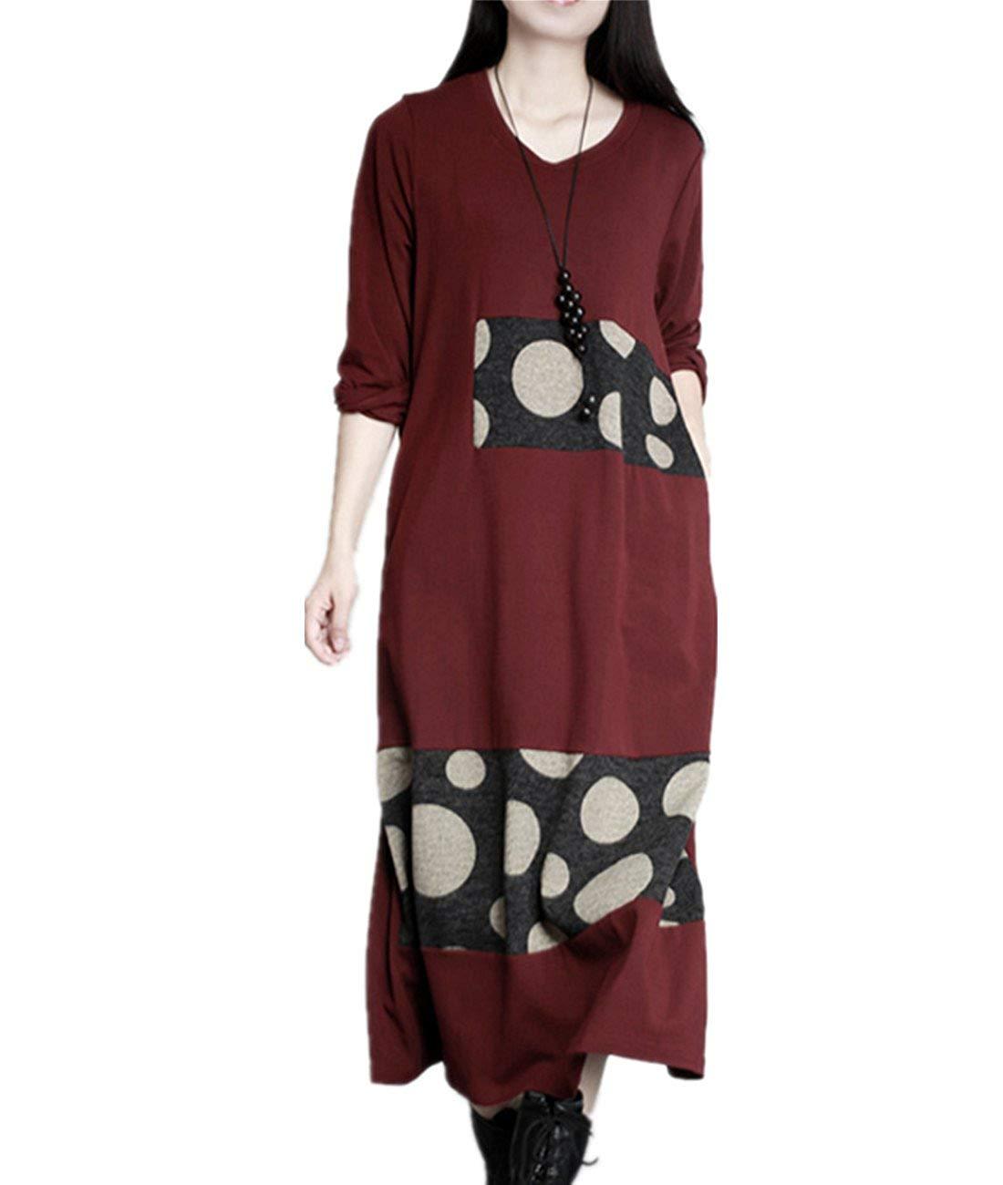 YESNO JT3 Women Flowy Tunic Dress Crew Neck Long Sleeve Knitted Dots Spliced/Pocket