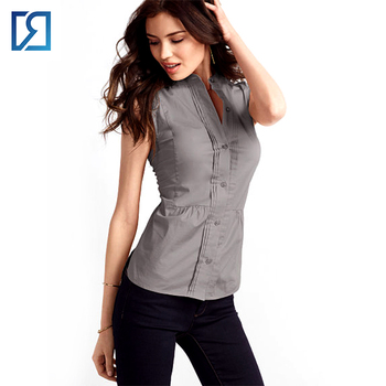 45fc252a38bf5c Women Stand Collar Button Down Pleated Overlap Sleeveless Shirt ...