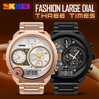 high quality alibaba mens watches online water resistant three time zone gold quartz watches oem luxury