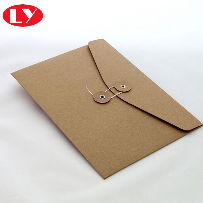 Brown kraft paper documents envelopes with buckle and fastening