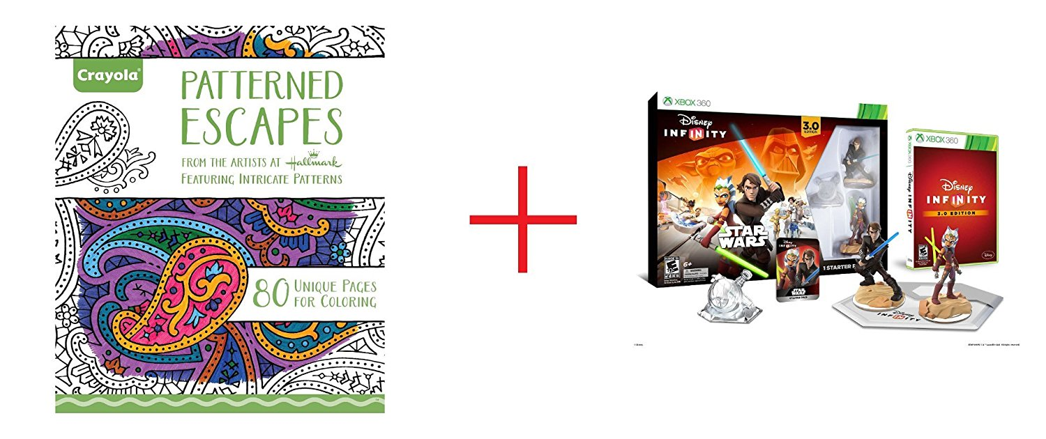 Crayola Adult Coloring Book - Patterned Escape and Disney Infinity 3.0 Edition Starter Pack for Xbox 360 - Bundle