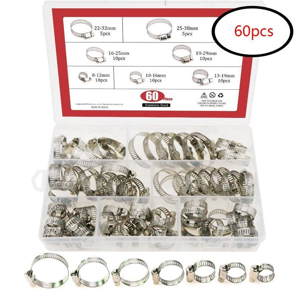 60pcs Hose Clips Adjustable 8-38mm Range Stainless Steel Hose Clamp Assortment 7 Size