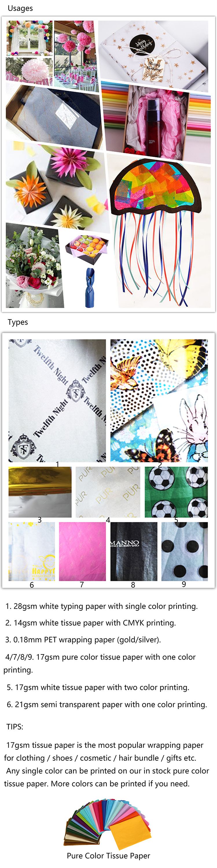 ZPT4-101 Wholesale bulk order standard size gift wrap customised logo printing pink gold tissue paper