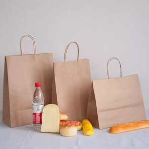 Low cost paper bags with logo print and window For food packaging