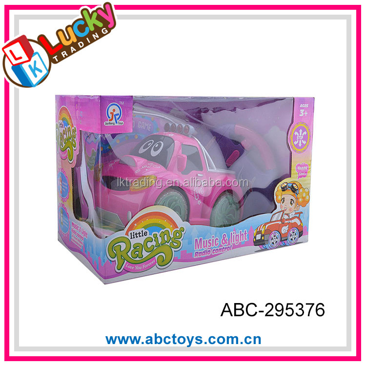 2016 new item pink lovely radio control cartoon toy car for girl