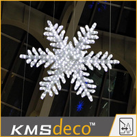 waterproof outdoor building decoration crystal led 3D big snowflake motif connectible light