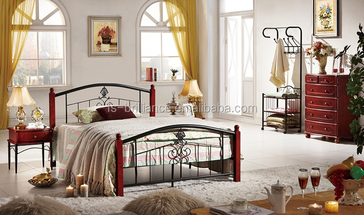 Wood Leg Metal Bed Frame Indian Wood Double Bed Designs L900*W1900*H860mm