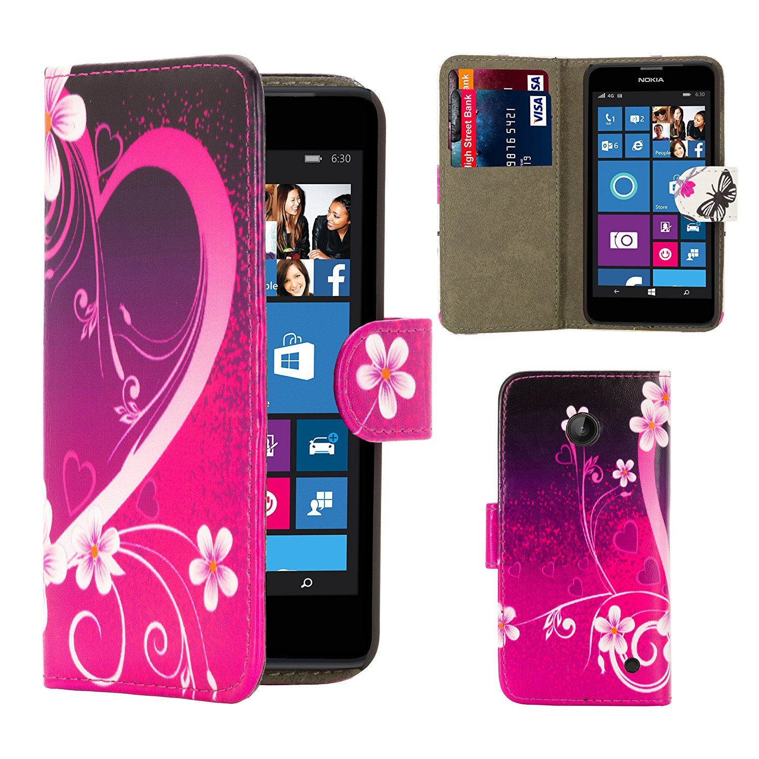 32nd® Design book wallet PU leather case cover for Microsoft Lumia 640, including screen protector and cloth - Love Heart