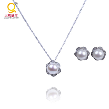 925 sterling silver single pearl pendant necklace and earrings 925 sterling silver single pearl pendant necklace and earrings costume jewelry set aloadofball Gallery