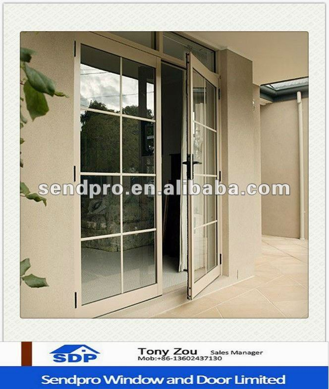 New Design Double Pane Aluminum French Door With Grille View