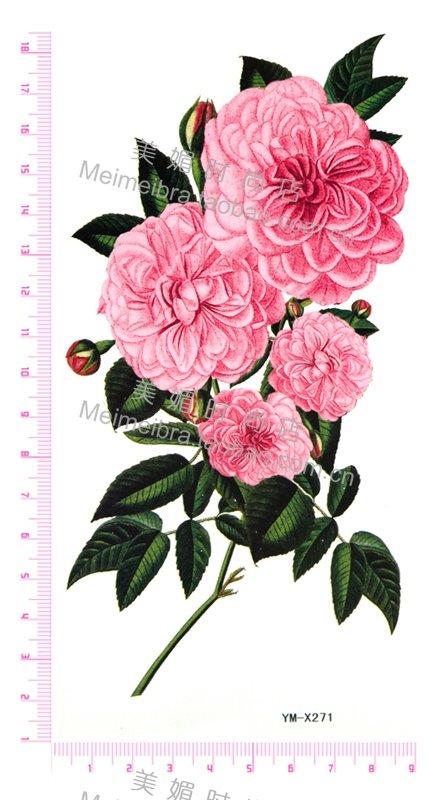 autocollants de tatouage imperm ables color s fleurs rose pivoine dans temporaire tatouages de. Black Bedroom Furniture Sets. Home Design Ideas