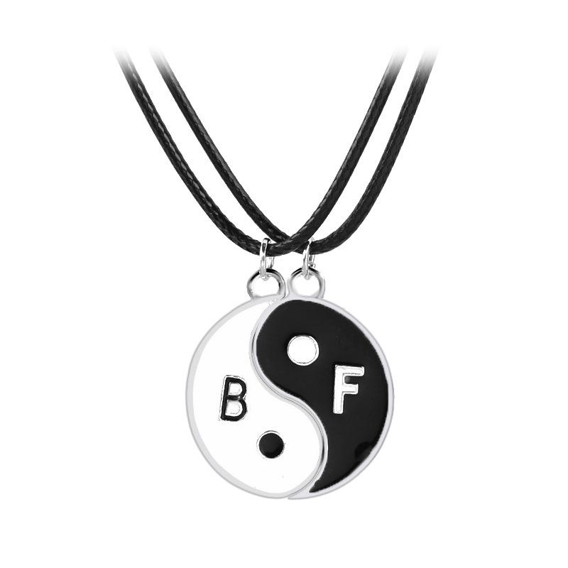 Best Friend For 2 Bbf Yin Yang Puzzle Couple Pendant Necklace Black