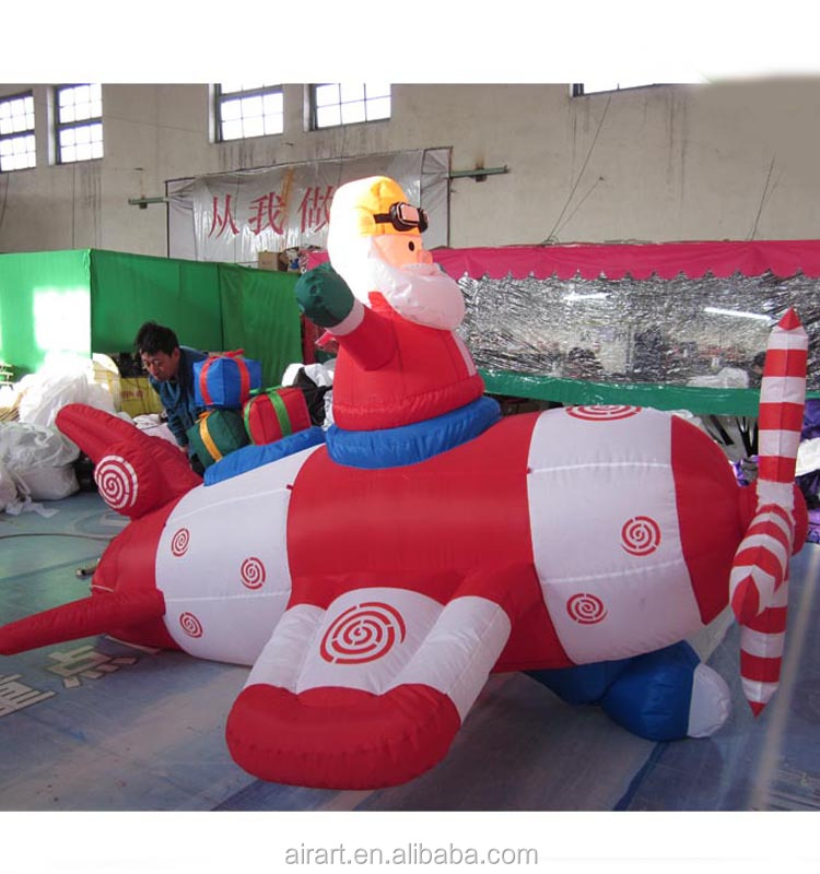 Sales very good custom inflatable Christmas old man and aircraft