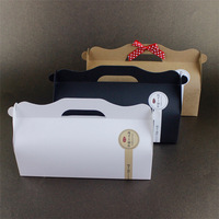 Custom Plain Kraft Paper Swiss Roll Cake Box Packaging With Handle