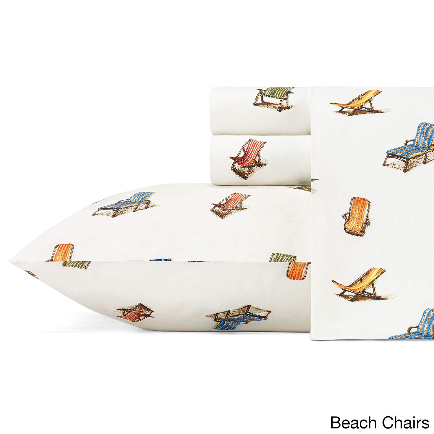 CA 4 Piece Off White Beach Chairs Sheet Set Queen Sized, Lounge Chair Bedding Ocean Themed Nautical Tropical Vacation Print Relax Fun Orange Blue Red Green Brown, Cotton Percale