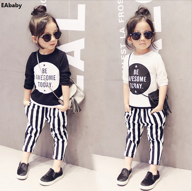 Girls Clothing baby sports t shirt Korean jeans suit kids clothes girls for 2-7 year old