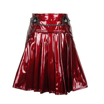 aee1811a41 Sexy Punk Women High Waisted Red A-line Short Leather Skirt - Buy ...