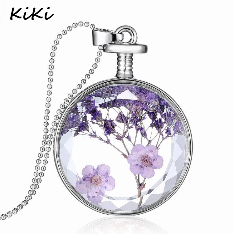 >>>Top Quality Floating Locket Silver Plated Plant Specimen Bottle Glass Charms Dried Flowers Pendants Necklace
