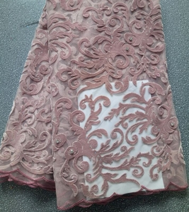 french lace with velvet 2018 latest new designs hand stone TS272-6 peach color