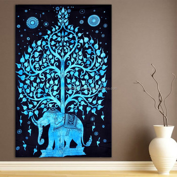 Wall Hanging Tapestry Elephant Under Tree Blue And Black Tapestry ... 17ffe14fa