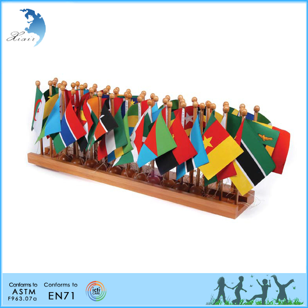 Geography Montessori materials Chinese factory wooden holder African Flag Stand