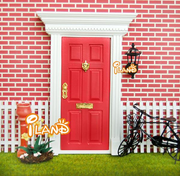 Dollhouse door wood fairy door w hardware open outward for Wooden fairy doors that open