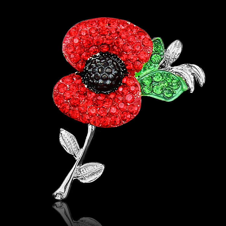 Wholesale Sparkle Red Crystal Rhinestone Poppy Brooch PinsPoppy Brooch