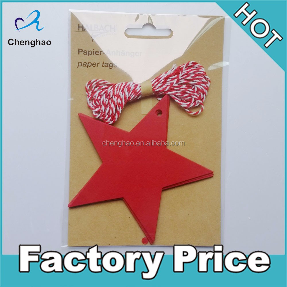 custom die cut recycled kraft paper hang tag with cord paper stars hang tags
