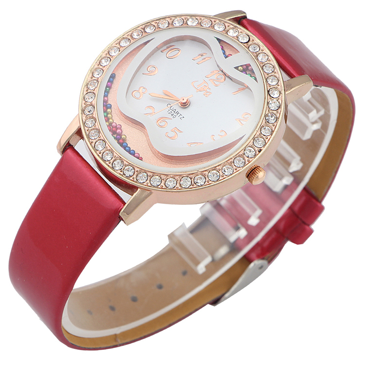 new rose gold casual watches women rhinestones quartz watch 2015 luxury brand Dress Watches fashion leather women wristwatches