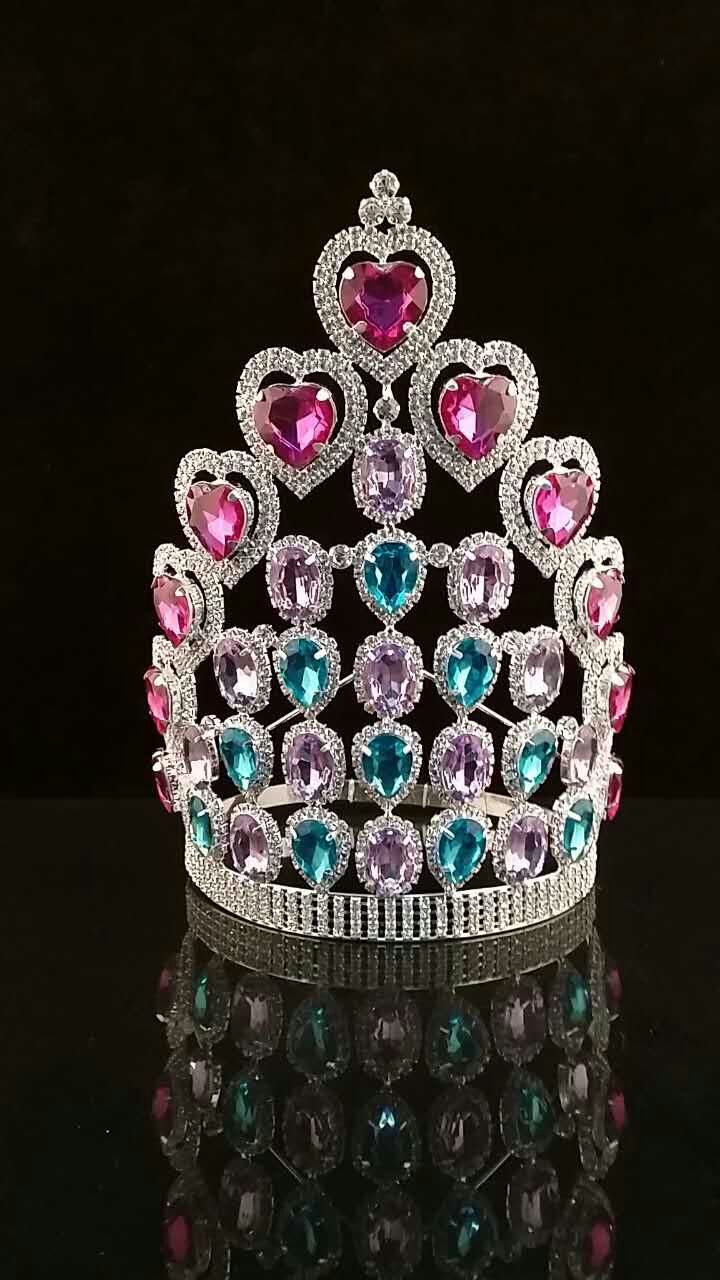 Large Drop stone New Arrival Custom Design Tall Pageant Pink Blue Purple heart Crown Tiara H172-318