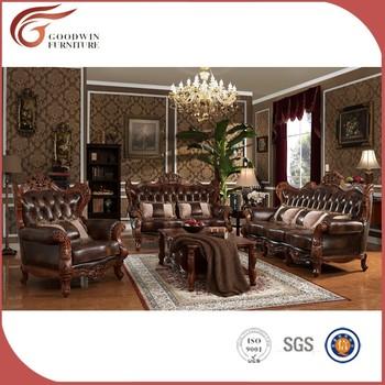 Indian Genuine Leather Sofas, Sofa Set Classic Wood Frame Leather Sofa A131
