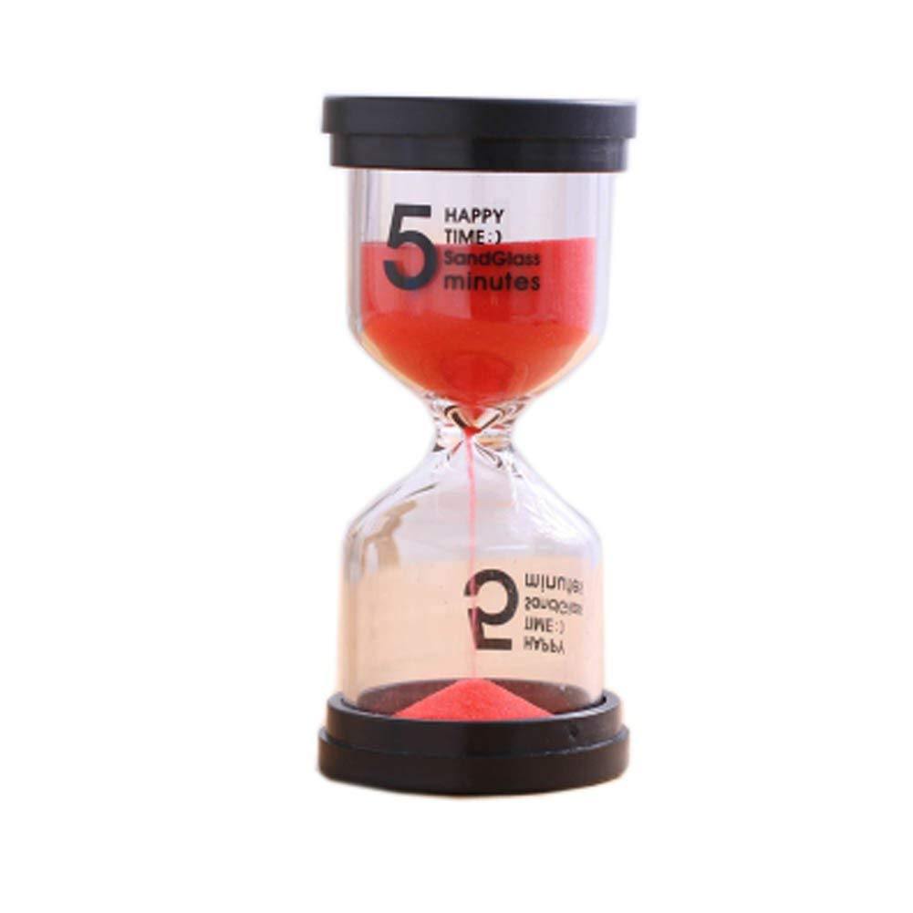 Blancho Bedding Colorful Sand Timer Hourglass Sandglass Small Ornaments Dropping Ueasily, 5 minutes + Red