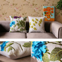 Wholesale Charming Latest Design White Trees Handmade Embroidery Cushion Cover A009