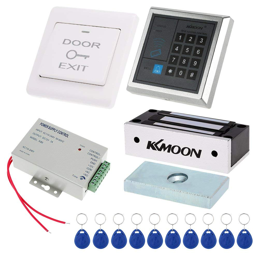 DC12/V Power Supply 180/kg//396lb Electric Magnetic Lock 10/Card RFID 125/KHz Switch KKmoon Kit Control System Access Controller Password