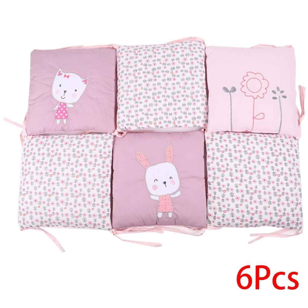 Chilie 6pcs Crib Bumper Pads Baby Cotton Infant Rabbit Animal Embroidered Cushion Newborn Toddler Bedding Surround 3030CM