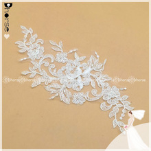 DHLF1674 New Design Flower Embroidered Organza Lace Applique /Wedding Dresses Sequin Lace Applique Motif